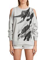 AllSaints Unai Wing Sweatshirt, Light Grey Marl