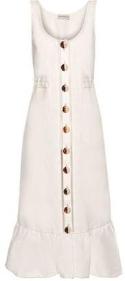 Nicholas Garden Button-detailed Ruffled Linen Midi Dress