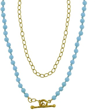 Cathy Waterman 17 Inch Turquoise Bead and Tiny Lacy Chain Necklace - Yellow Gold