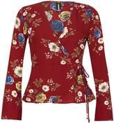 Izabel London Floral Print Wrap Top