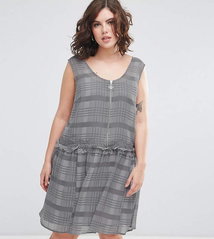Asos Drop Hem Mini Dress In Check Print