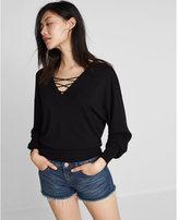 Express oversized extreme v-neck lace-up sweater