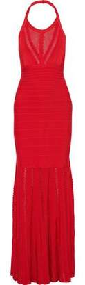 Herve Leger Millicent Mesh-paneled Bandage Halterneck Gown