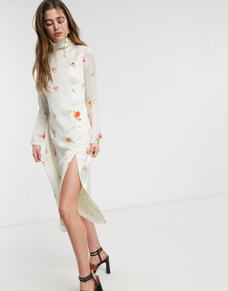 Lost Ink high neck column midi dress with buttons in delicate rose print