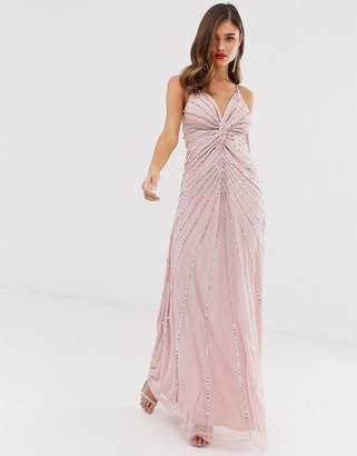 Frock and Frill twist front scatter sequin cami strap maxi dress-Pink