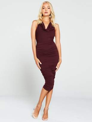 AX Paris Cowl Neck Ruched Side Dress - Plum