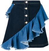 House of Holland frilled denim skirt - women - Cotton/Spandex/Elastane - 6