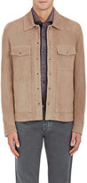 Isaia Men's Perforated Suede Trucker Jacket