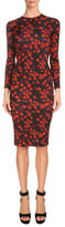 Givenchy Long-Sleeve Floral-Print Sheath Dress, Red