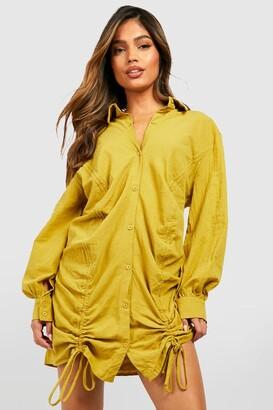 boohoo Rouched Linen Shirt Dress