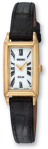 Seiko Ladies' Goldtone Black Leather Dress Watch