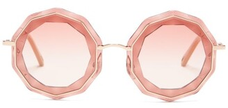 Chloé Caite Decagon Acetate And Metal Sunglasses - Womens - Gold Pink