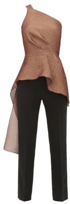 Roland Mouret Jara Asymmetric Lame-cloque Jumpsuit - Womens - Copper