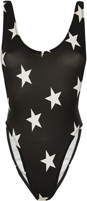 Norma Kamali Open-back Printed Swimsuit