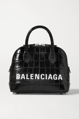 Balenciaga Ville Xxs Aj Printed Croc-effect Leather Tote - Black