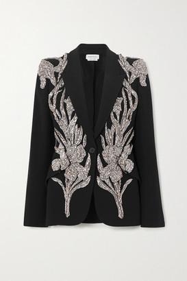 Alexander McQueen Embellished Twill Blazer - Black