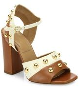 Michael Kors Trista Studded Two-Tone Leather Block-Heel Sandals