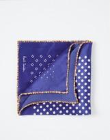 Paul Smith Diamond Silk Pocket Square With Multi-stripe Trim - Blue