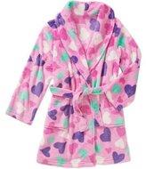 AME Sleepwear Girls Plush Bathrobe with Heart Designs XL 14/16