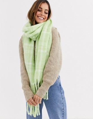 Asos Design DESIGN fluffy check scarf in washed green