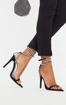 PrettyLittleThing Black Point Toe Diamante Ankle Strap Sandal