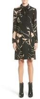 Valentino Women's Panther Print Tie Neck Silk Cady Dress
