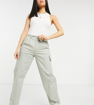 ASOS DESIGN Petite front pleat chinos with cargo pockets in sage