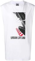 Les Hommes Urban printed longline tank top