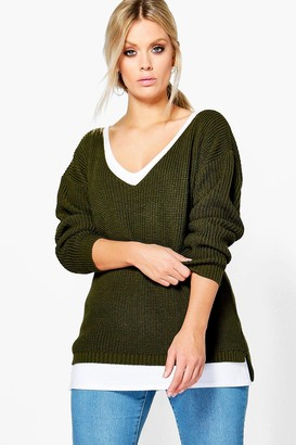boohoo Plus Oversized V Neck Sweater
