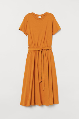 H&M Tie-belt Jersey Dress - Yellow
