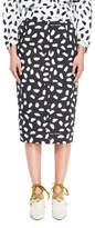 Off-White Button-Back Dot-Print Straight Midi Skirt