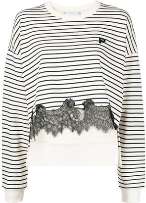 Philosophy di Lorenzo Serafini Lace-Hem Striped Sweatshirt
