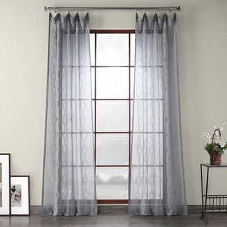EFF 1-panel Vega Patterned Linen Sheer Window Curtain