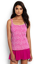 Classic Women's Long Scoopneck Tankini Top-Light Fuchsia Bandana Paisley