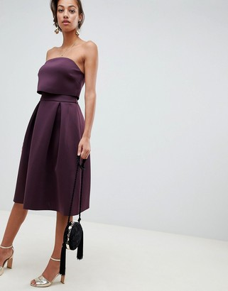 Asos Design DESIGN bandeau crop top prom midi dress-Purple