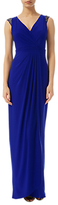 Adrianna Papell Petite Wrap Front Jersey Gown, Neptune