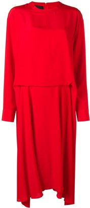 Cédric Charlier pleated crepe de chine dress