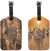 ALAZA Set of 2 Wildlife Zebra Trunk Travel Luggage Labels ID Tags