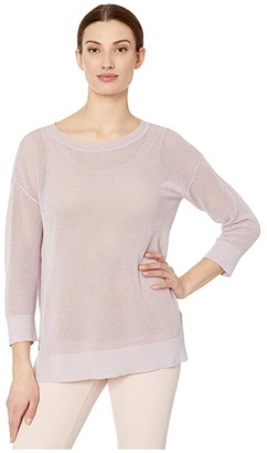 Tribal 3/4 Sleeve Lurex Sweater (Lilac) Women's Clothing