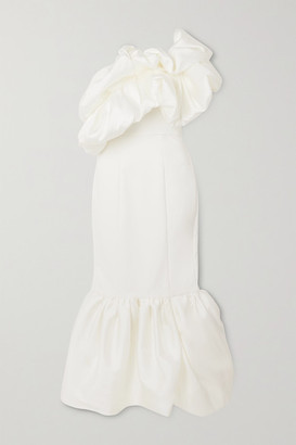 SOLACE London Tove One-shoulder Ruffled Satin And Crepe Gown - White