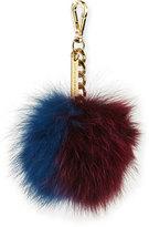 Sofia Cashmere Two-Tone Fox Fur Pompom Bag Charm, Blue/Wine