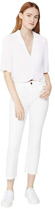 BCBGeneration Cropped Twist Front Boyfriend Sleeve Woven Top - THC1271508 (Optic White) Women's Clothing