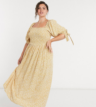 ASOS DESIGN Curve shirred maxi dress in mustard ditsy floral print