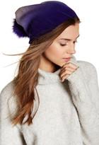 Sofia Cashmere Genuine Fox Fur Pompom Beanie