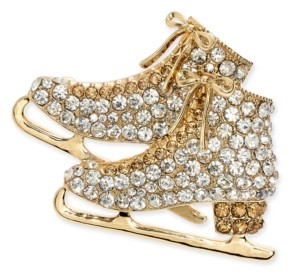 Charter Club Gold-Tone Crystal Ice Skates Pin, Created for Macy's