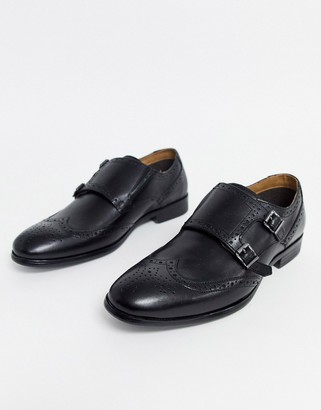 Red Tape leather brogue monk shoe in black