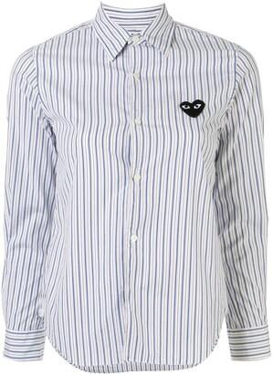 Comme des Garcons Striped-Print Branded Shirt