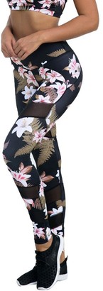 So Buts Women Pants SO-buts Women Flower Print High Waist Running Fitness Leggings Pants Athletic Sports Gym Yoga Trouser (Black XL)