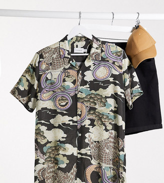Topman Big & Tall short sleeve shirt with revere collar & snake print in black