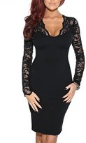 FORTRIC Women Long Sleeve Lace Sexy Cocktail Evening Party Slim Bodycon Dress S